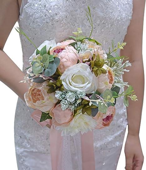 Artificial flower bridal party bouquets