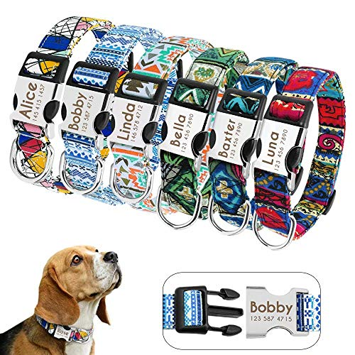 Didog Custom Dog Collars with Engraving Quick Release Buckle, Personalized Dog Collar with Fashion Patterns Fit Small Medium Large Dogs