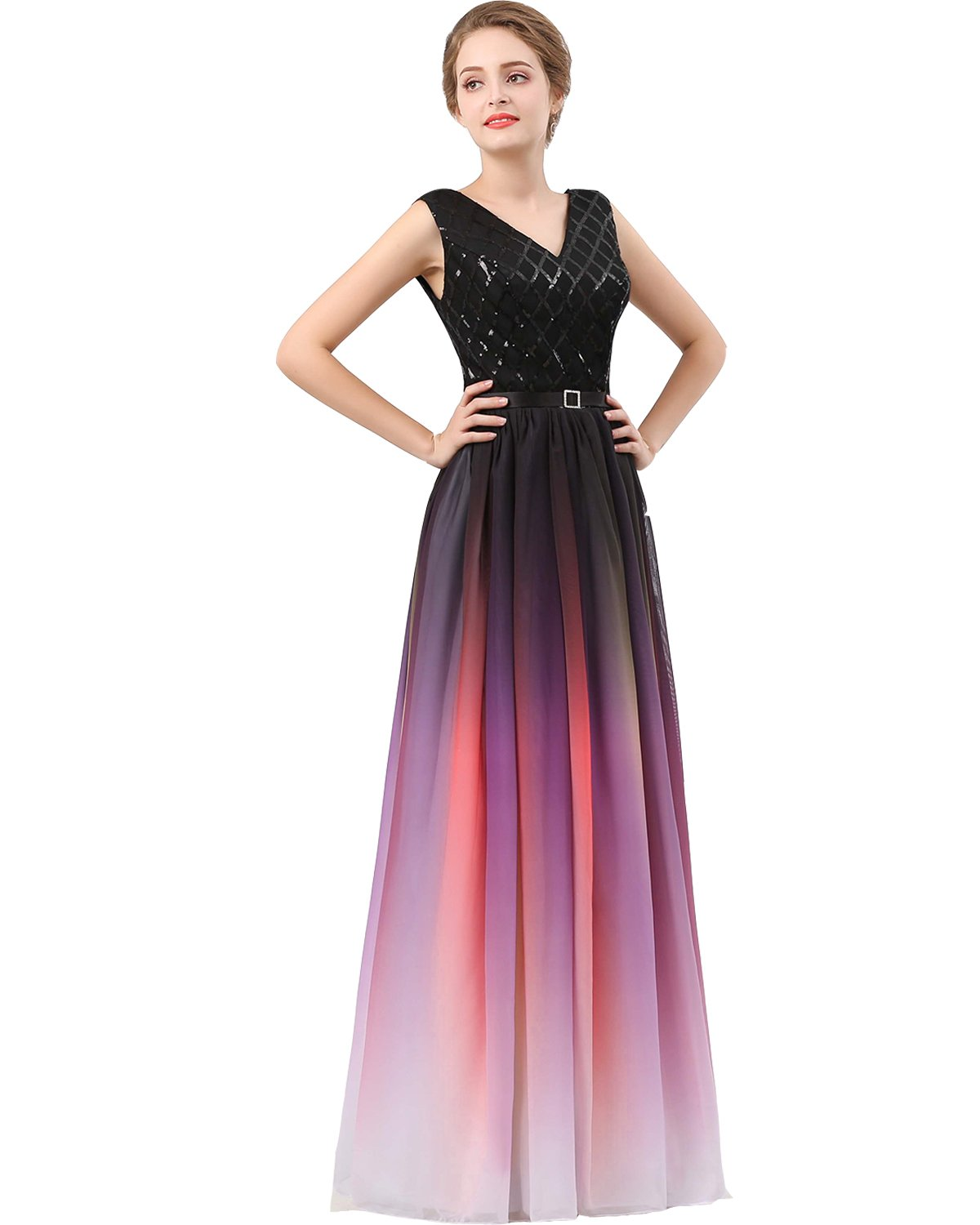 Plus Size Black Sequined Ombre Chiffon Gradient Prom Evening Dress Purple  US 18W