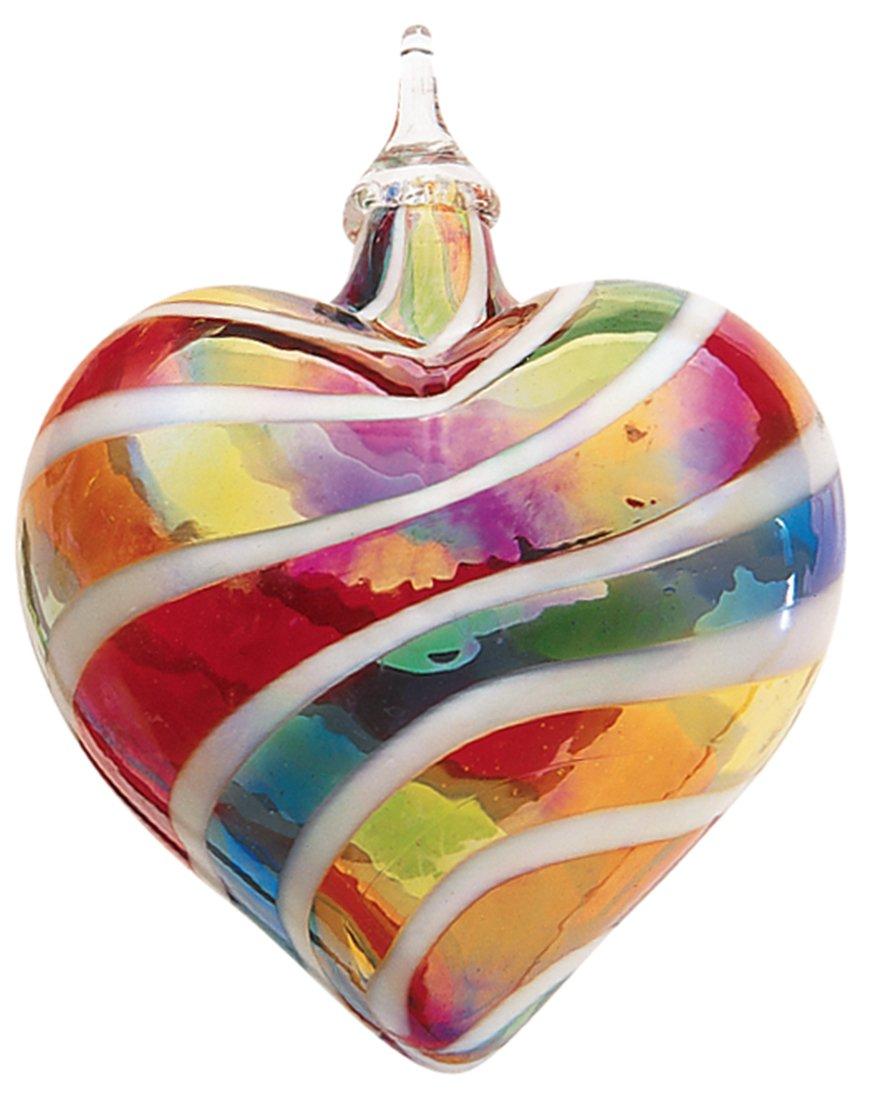 Glass Eye Studio Designer Rainbow White Cane Heart Ornament