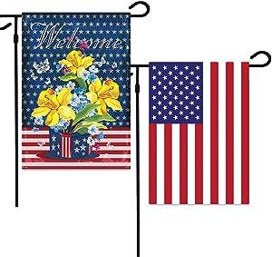 Hamiggaa USA Garden Flag Double Sided American Farm House Yard Outdoor Patriotic Decor,America Outdoor Yard Flags 12.5 x 18 Inch for Porch Patio Farmhouse Lawn