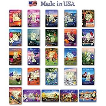 Amazon com : U S  State Map Postcard Set  50 modern post card
