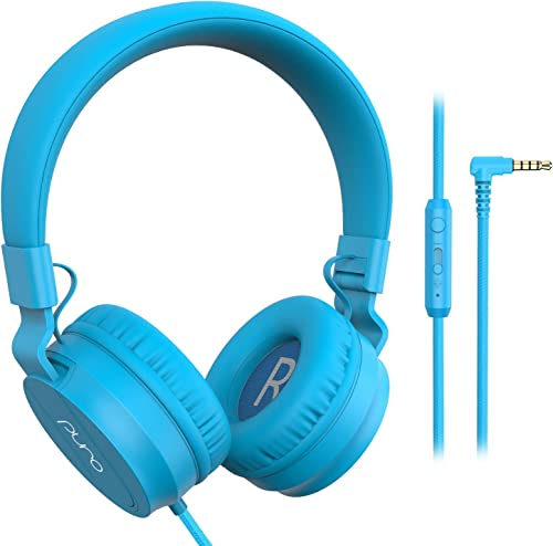 PuroBasic Volume Limiting Wired Headphones for Kids, Boys, Girls 2 Foldable Adjustable Headband, Compatible with iPad, iPhone, Android, PC Mac by Puro Sound Labs, Blue