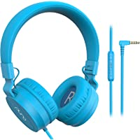 Puro Sound Labs PuroBasic Volume Limiting Wired Headphones for Kids, Boys, Girls 2+ Foldable & Adjustable Headband, Compatible with iPad, iPhone, Android, PC & Mac, Blue