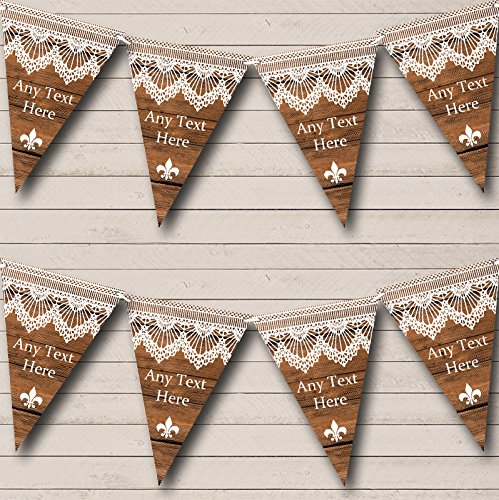 Rustic Wood Lace Personalized Tea Party Bunting Banner Garland