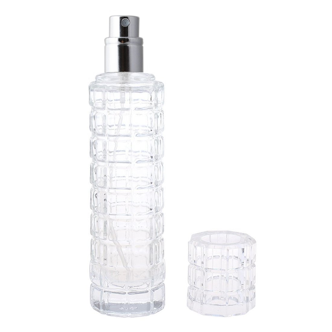 Enslz 30ML Empty Clear Glass Spray Bottles Refillable DIY Blends Perfume Atomizer Replacement Silver Sprayer