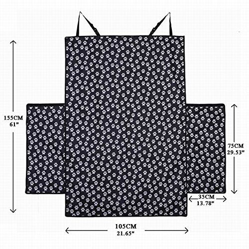 HCMAX Dog Vehicle Cargo Liner Cover Pet Seat Cover Bed Floor Mat Nonslip Waterproof Universal for Car SUV Truck Jeeps Vans Paw Prints by HCMAX (Image #3)
