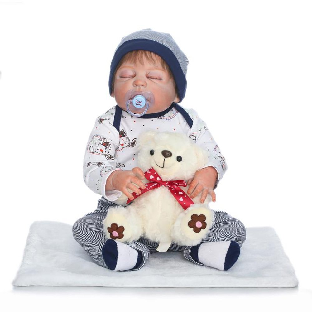 NPKDOLL Harte Simulation Silikon Reborn Baby Doll Schöne Puppe 22 Zoll 55 cm Junge Mädchen Baby Geschenk für Kinder Geburtstag und Weihnachten a205
