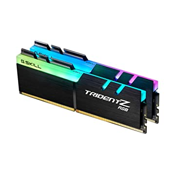 G SKILL F4-3200C14D-16GTZR Trident Z RGB Series 16 GB (8 GB x 2) DDR4 3200  MHz PC4-25600 CL14 Dual Channel Memory Kit - Black with full length RGB LED