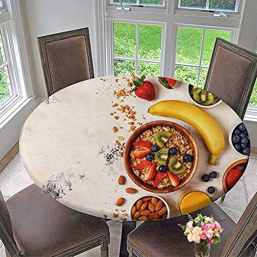 PINAFORE HOME The Round Table Cloth Breakfast Bowl of muesli Berries and Fruit Nuts Orange Juice Milk top View for Birthday Party, Graduation Party 67