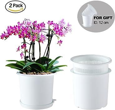 Meshpot 2 Pièces 19 cm Plastique Pot à orchidée avec Trous - 2 Pot intérieur,2 Pot extérieur,2 Plateau (2 Pièces Blanc)