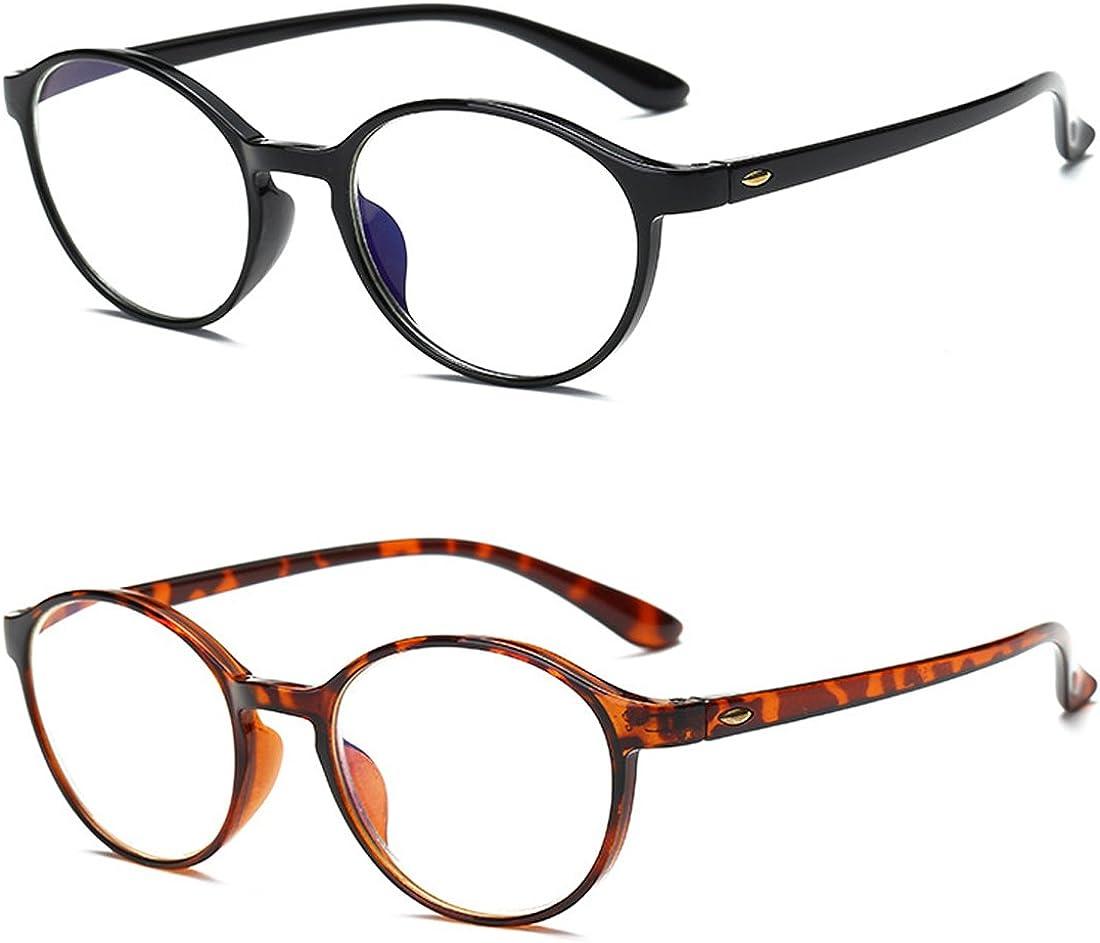 VEVESMUNDO Gafas de Lectura Mujer Hombre Bloqueo Luz Azul Presbicia Antireflejos Grandes Flexible Redondas Retro Calidad Para Ordenador Leer Trabajo Vista Graduadas