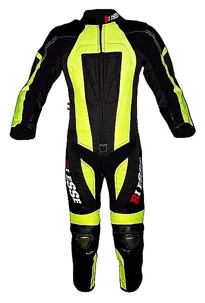 BIESSE – Traje de minimoto para niño de piel y cordura 600d profesional, color negro y amarillo neón, tallas XS – 3XL (5 – 16 años), con protecciones ...