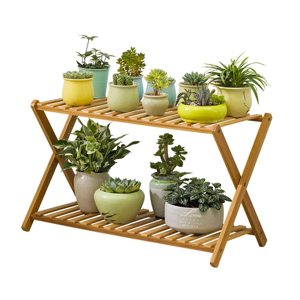 Khkfg Porta Piante in bambù a 2 Livelli   Plant Stand Succulent Plants Pot Shelf Rack for Balcony 27.6x11.8x18.9in