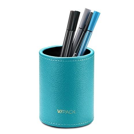 VPACK Piel Sintética Redondo lápices y bolígrafos portavasos Escritorio Organizador de Papelería