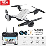 Drone with Camera Live Video BIZONOD SG700 WIFI FPV Rc Quadcopter with Dual 2.0MP Optical Flow Camera Auto-photograph Folding RTF Remote Control Helicopter Toy for Kids and Beginners