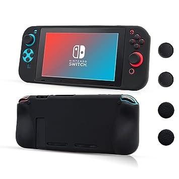 CHIN FAI Nintendo Switch Funda Protectora de Silicona, Suave Antideslizante 360 ° Funda Protectora de Silicona para Nintendo Switch [Ligero, ...