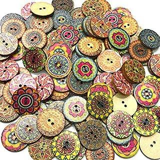 100pcs / Bag Rotonda Assortiti Floreale Stampato Bottoni Decorativi di Legno per DIY Crafts Cucito Colore Casuale