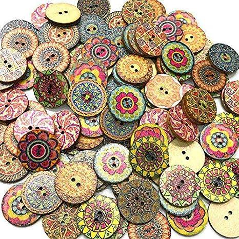 100pcs / Bolsa Redonda Surtido Impreso Floral Botones Decorativos de Madera de DIY de Coser Crafts Color al Azar Regard: Amazon.es: Hogar