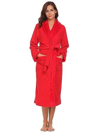 10ebe47f0f Ekouaer Plush Lined Bathrobe For Women Winter Spa Bath Robes Sleepwear  (Red