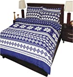 Nordic Blue Superking Flannelette (complete set) Duvet Cover Plus Fitted Sheet & Pillowcase, 100% Brushed Cotton.