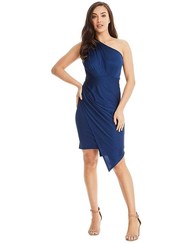 7b812a87b SKIVA One Shoulder Asymmetrical Blue Dress. Can be Worn as a Womens Wedding  Guest Dress, Cocktail Dress & Club Dress. at Amazon Women's Clothing store: