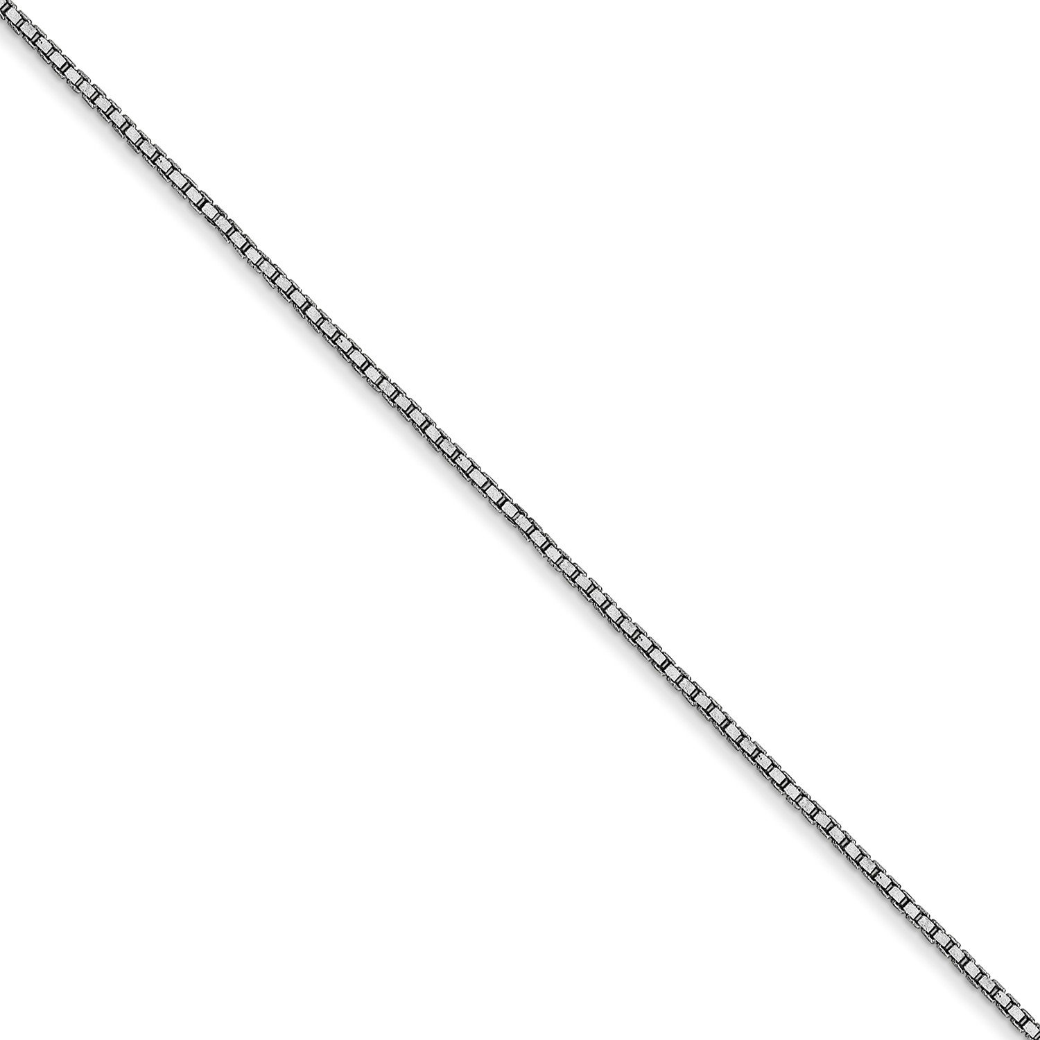 Roy Rose Jewelry 14K White Gold  90mm Box Chain Anklet