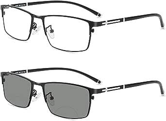 Photochromic Bifocal Reading Glasses, Ultra-light Alloy Men's Business Half-frame and Full-frame