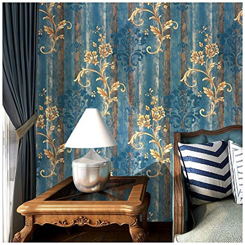 HaokHome 86001 Blooming Vintage Damask Glitter PVC Wallpaper 20.8