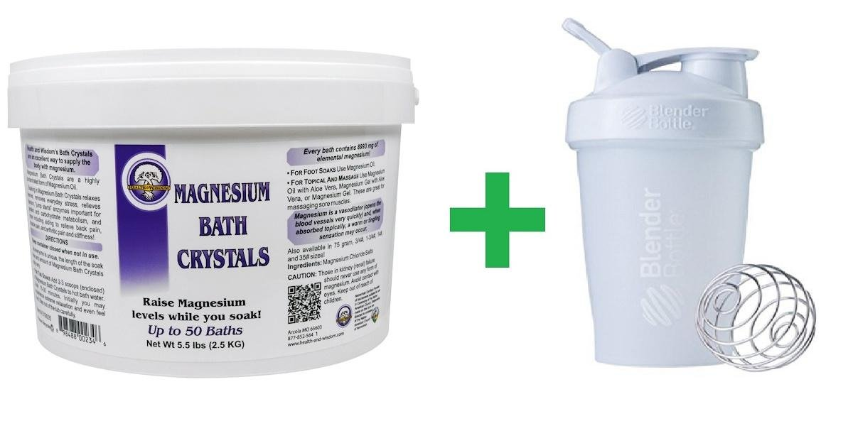 Health and Wisdom Inc, Magnesium Bath Crystals, 5.5 lbs (2.5 kg) + Assorted Sundesa, BlenderBottle, Classic With Loop, 20 oz