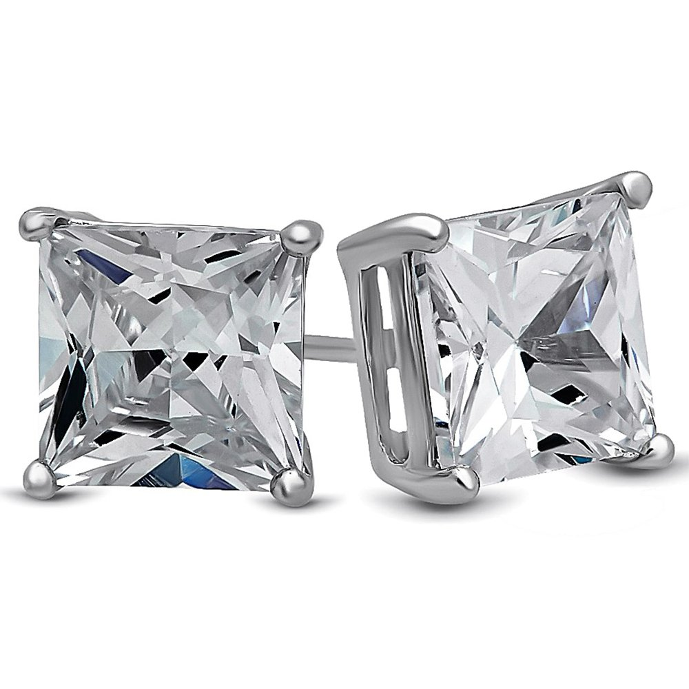 LUVAMI 18k White Gold Cubic Zirconia Square 7mm 1.25 Carat Studs Earrings Gift Box Included