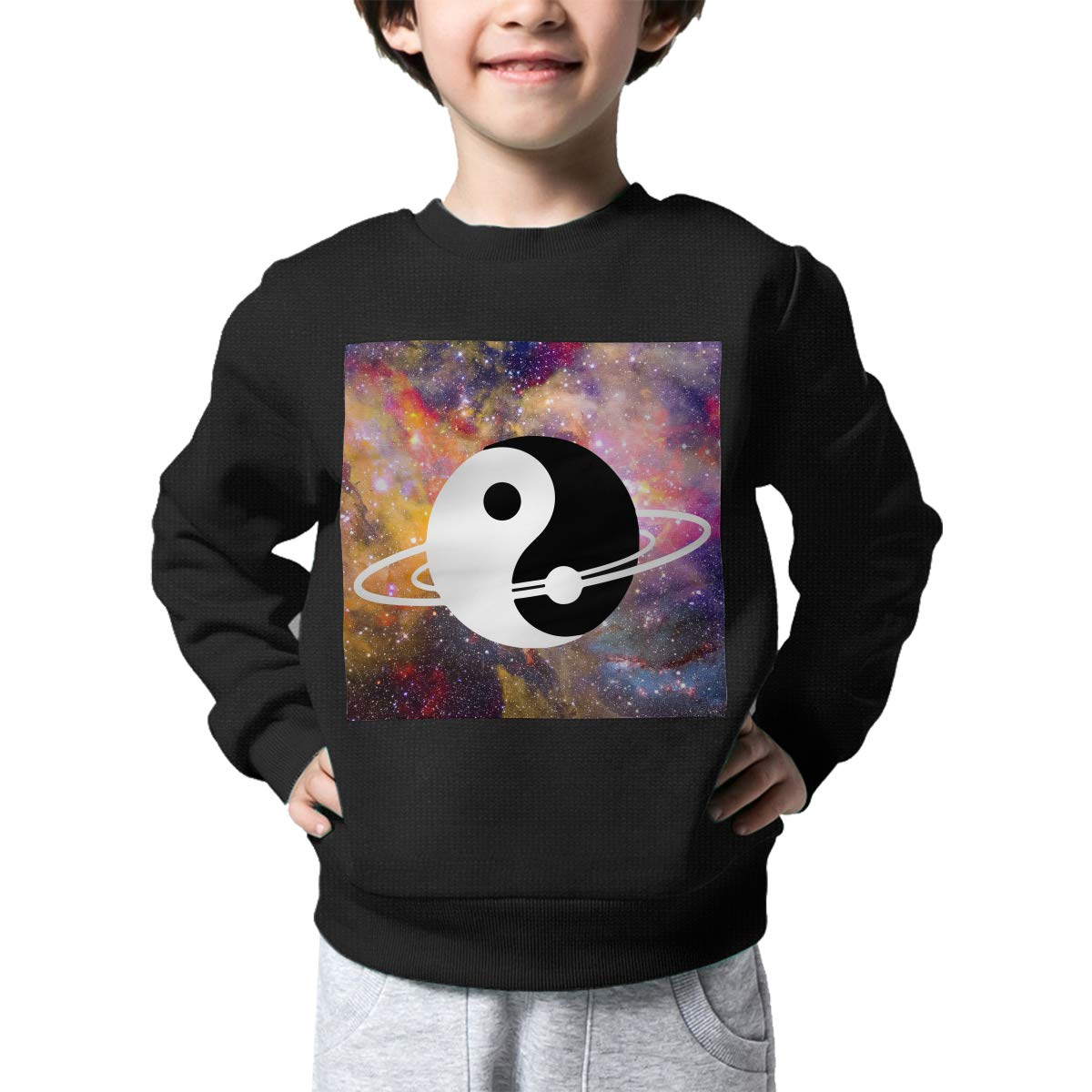 Space Yin Yang Printed Baby Boys Childrens Crew Neck Sweater Long Sleeve Warm Knit Sweater Jumper