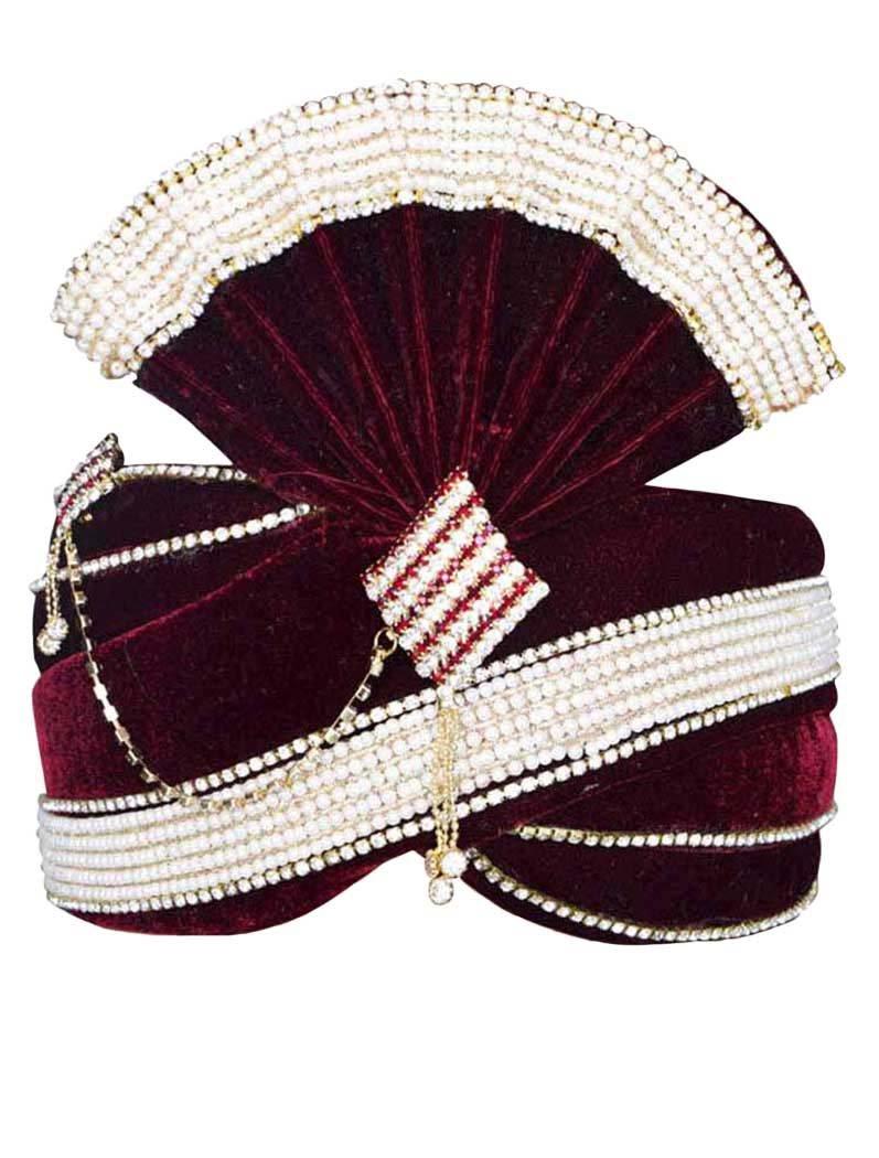 INMONARCH Mens Alluring Velvet Turban Pagari Safa Groom Hats TU1066 23-Inch Maroon
