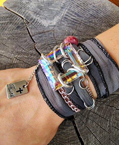 ['Faith' - Silk Ribbon Bracelet, Ribbon Wrap Bracelet, Power Phrase Bracelet, Bracelets With Quotes, Wrap Bracelets, Gypsy Wrap Bracelet, Survivor Gift, Survivor Bracelet] (Survivor Costumes Ideas)