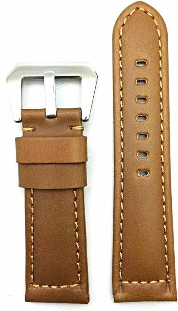 24mm Light Brown Leather Watch Band Compatible with Panerai Watch   Solid, Smooth, Heavy Duty, Medium Padded Replacement Wrist Strap Bracelet that brings New Life to Any Watch (Mens Standard Length)