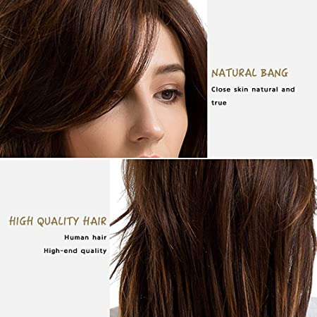 Amazon.com: YIYEZI Ladies Side Parting Multi-Layered Long Hair Human Hair Wigs with Bangs (Brown): Garden & Outdoor