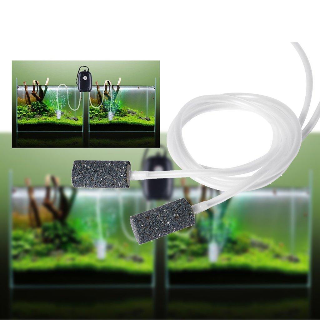 HOTSO Silenciosa Bomba Pecera de Oxigeno Eléctrica para Acuario Pescado Estanque Hidropónico con 2 Aire Piedras Burbuja y 2 M Tubo de Silicona, ...