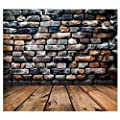 FUT 3D Retro Colorful Stone Wall Dark Wooden Floor Dark Sky Vinyl Backdrop Background Ideal for Baby, Newborn, Personal Photo, and Product Photography or Wall Decor 5x7ft