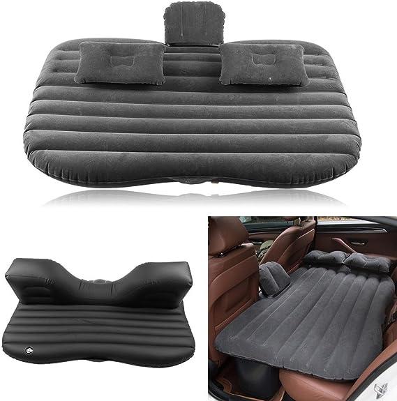 Colchón Inflable para Coche Cama Inflable del Coche, Coche Cama Air con bomba de aire para asiento trasero de coche o todoterreno,Aire Libre Hogar Camping Viaje Coche,136x85x13cm (negro)