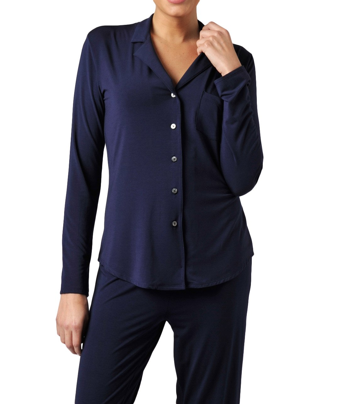 Naked Women's MicroModal Luxury Pajama Set - Sleepwear & Loungewear For Women - Peacoat, Small