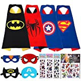 MIJOYEE Superheros Capes Mask 4 Costumes Kids Cartoon Dress up Double-Sided Costumes Bonus Stickers Tattoo
