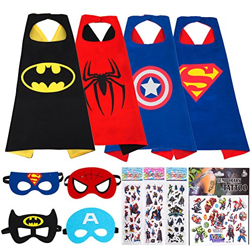 MIJOYEE Superheros Capes and Mask 4 Costumes for Kids Cartoon Dress up Double-Sided Costumes with Bonus Stickers and Tattoo