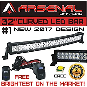 "#1 32"" Curved Arsenal Offroad LED Light Bar 30"" of LED's Flood/Spot Combo Beam-CREE 3w LED's 180w 18,000LM Off Road Polaris RZR UTV Trucks Raptor Jeep Bumper Rock"