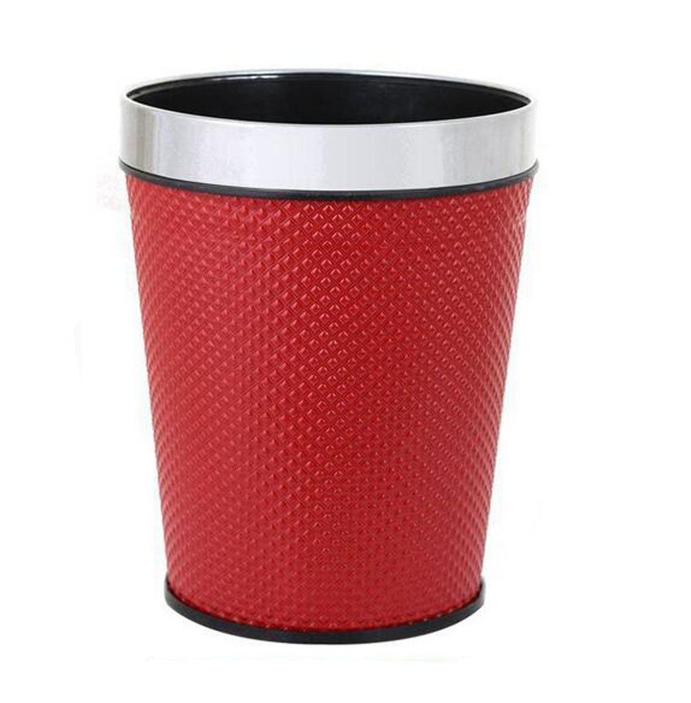 MYtodo Home Offices 12 L Garbage Container Bin Bathrooms Trash Can Wastebasket (Red)