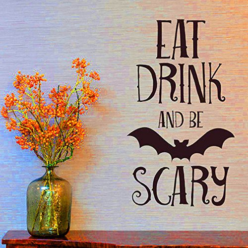 Gbell 1Pcs Halloween EAT Drink Scary Black Bat Wall Sticker for Kids Adults- PVC Background Wall Decal Decoration for Hall Living Room /Home/Kitchen/ Window/Car Body/Shop Store Wall Decor (Black)]()