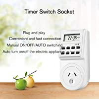 Mini Digital LCD 240V 10A Timer Switch Socket Outlet Plug-in Time Control for Kitchen Electric Appliance AU Plug with Colock White