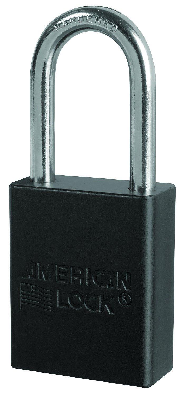 American Lock A1106BLK1KEY Padlock Keyed, Aluminum, Black
