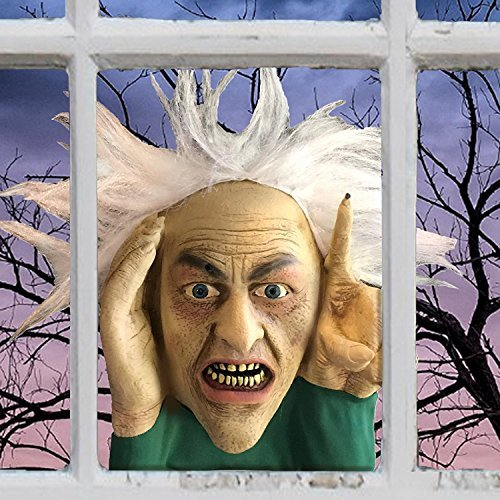 (Scary Peeper Tapping Hag - Halloween Animated Decoration Prank with Creepy Face, Taps on Window - Funny Motion Activated Gag Prop for Haunted)