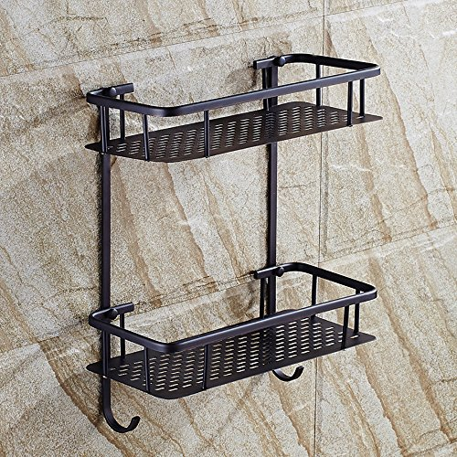 XiYunHan Bathroom Shelf 2-Tier Shower Cosmetic Shelf Square Modern Style with Cover Oil Rubbed Black Bronze Basket Shower Organizer Wall Mounted Storage Shelf by XiYunHan (Image #4)