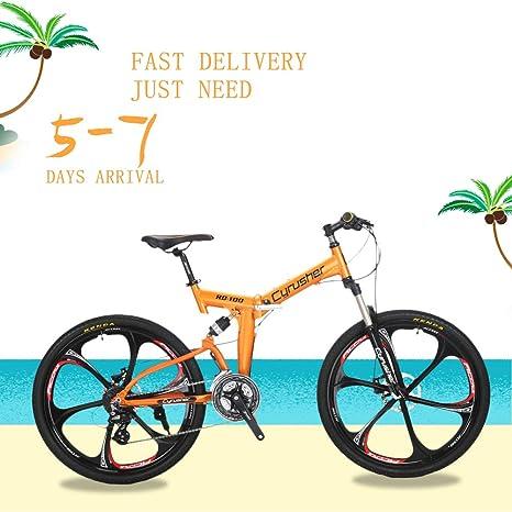 Extrbici. Marco Plegable de suspensión Completa para Bicicleta de montaña Shimano M310 Altus 24 Marchas de 17 Pulgadas Marco de Aluminio MTB Bicicleta Doble mecánica de Frenos de Disco: Amazon.es: Deportes y